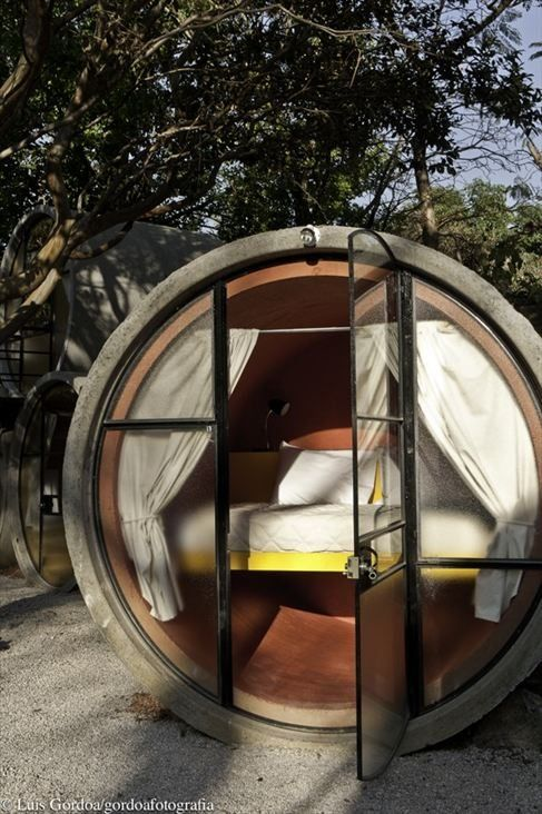 Concrete pipes transformed into an unusual budget hotel. http://Bukerz.com