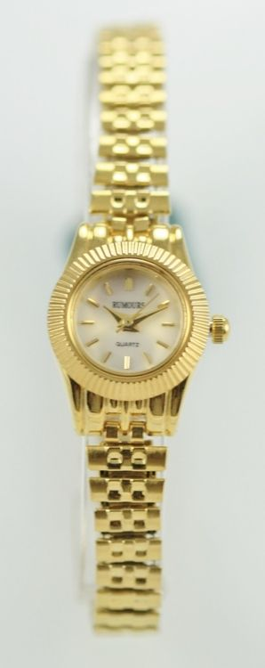 Rumours Watch Womens White Pearl Stainless Steel Gold Expansion Battery Quartz