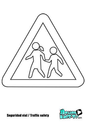 Colorear pintas señales trafico, peatones, recursos seguridad vial -- Traffic signs coloring pages, road safety resources