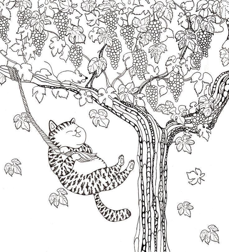 cat swings swings swings lovely colouring book from a million cats