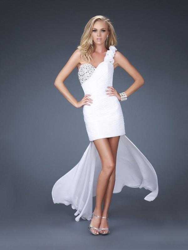 Column White Floral One-shoulder Sweetheart Drape Hi-low Prom Dress