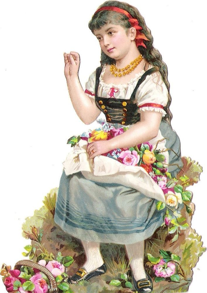 Oblaten Glanzbild scrap die cut chromo Kind child enfant  13,2cm Tracht national