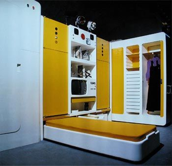 'total furnishing unit', 1971/72 extendable bed - living side of 'total furnishing unit' studio Joe Colombo, Milan