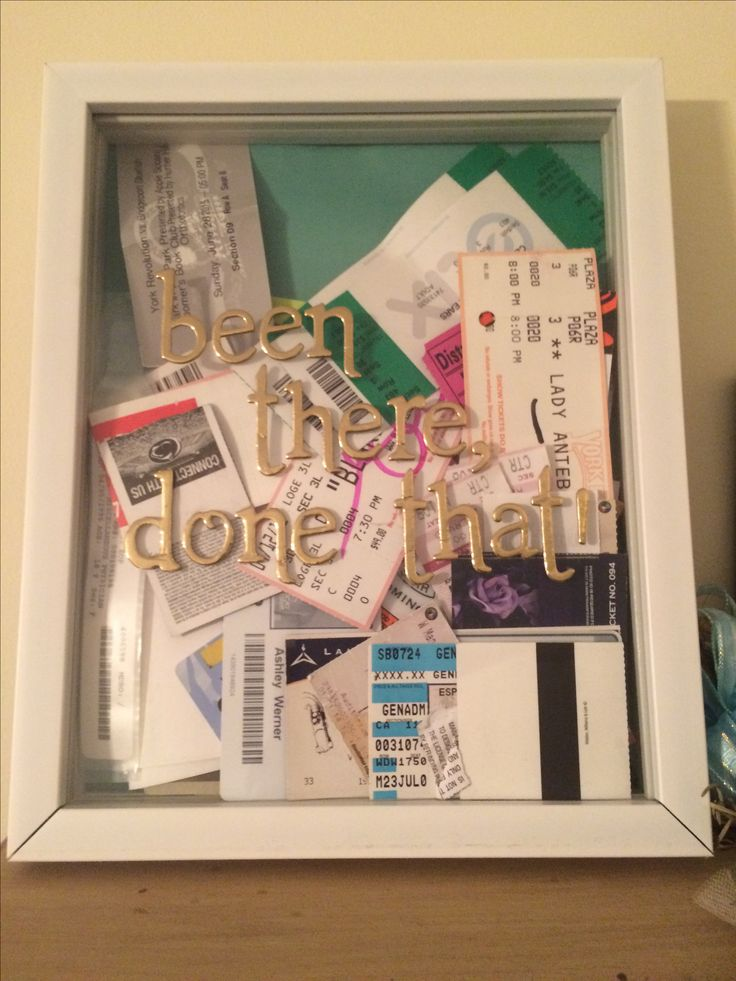 Been there, done that!   Such a quick and easy gift or idea to be able to put stuff for all the memories you have done in your life. Just buy a shadow box and some stickers. Then after an event place the ticket, stub, wristband, or anything else to remember the awesome experience!