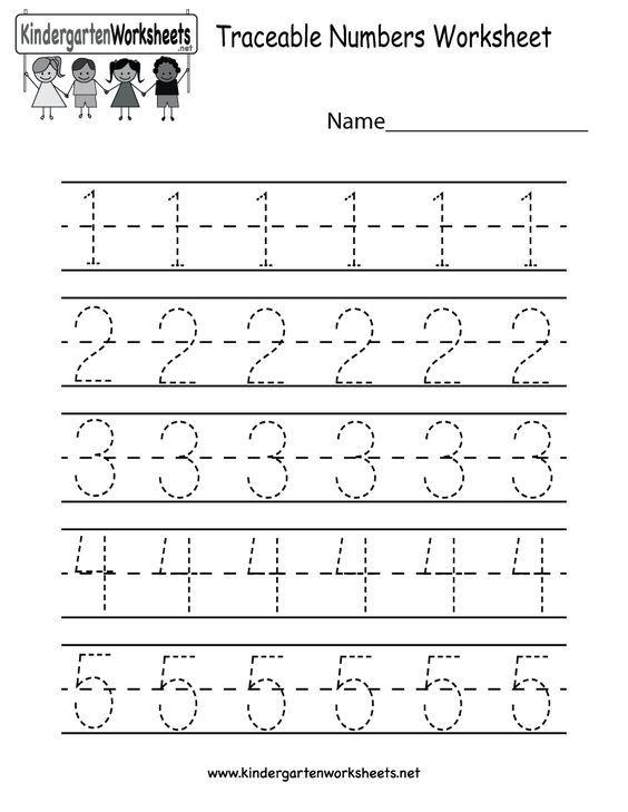 Kindergarten Traceable Numbers Worksheet Printable ...