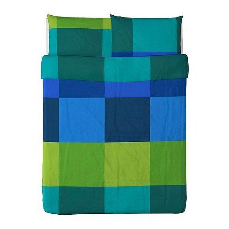 ikea brunkrissla duvet cover and pillowcases fullqueen blue - Diy Entfernbarer Backsplash