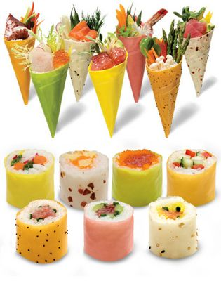 Soy Wrap is a creative alternative to the use of roasted seaweed and brings a colorful presentation to traditional sushi or hand rolls. Available in green, orange, pink, yellow, sesame seeds, poppy seeds and chili.
