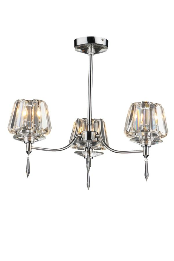 An elegant and sleek 3 light semi flush light fitting with crystal shades and polished chrome frame. This light is perfect for adding a touch of class to a hallway or living room.