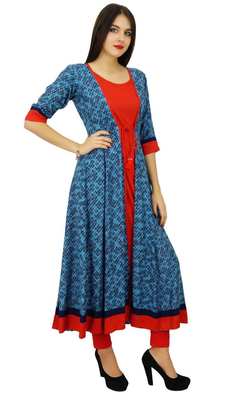 Bimba Womens Designer Flaired Kurta Dress Indian Clothing Printed Rayon Kurti