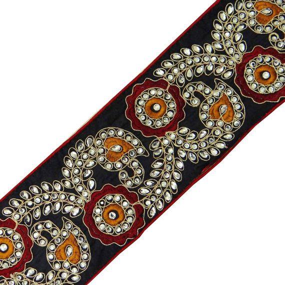 Designer Fabric Trim Supplies Black Floral by Indianbeautifulart