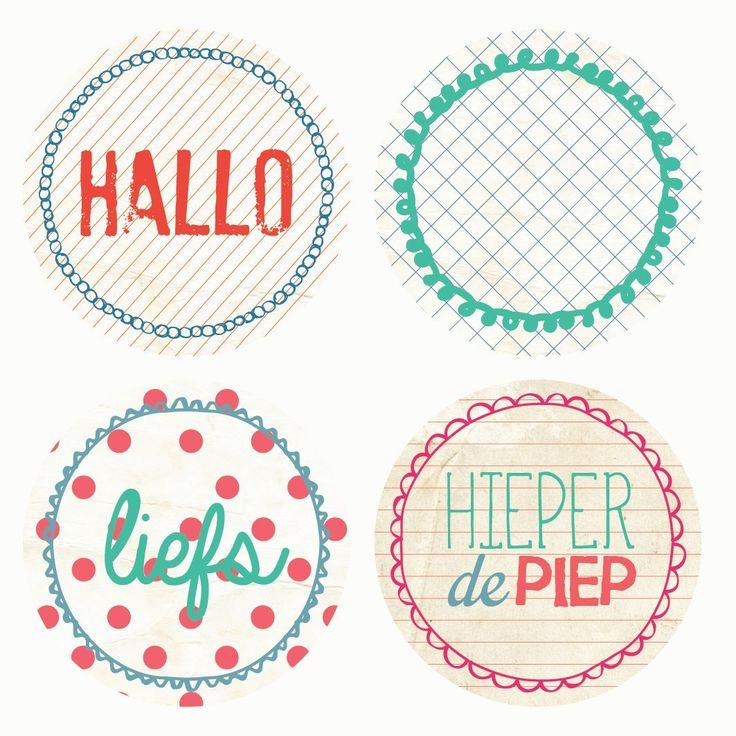 Studio Deksels - Stickers Set - Sluitzegels - Rond - Hallo - Liefs - HieperDePiep