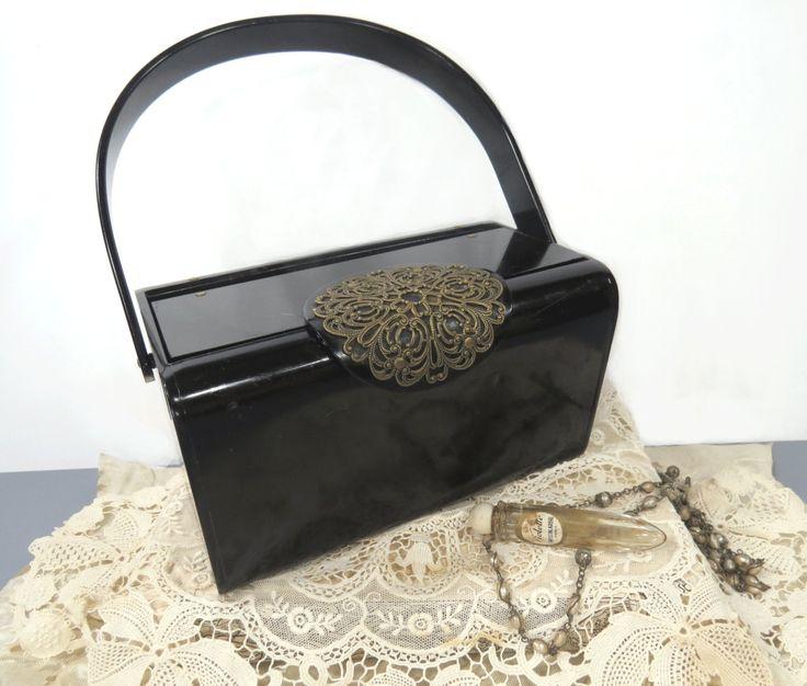 Black Lucite 1950s Designer Purse Handbag with Brass Cutout Design Closure, Mirror - Wedding, Evening, High Fashion by UrbanRenewalDesigns on Etsy