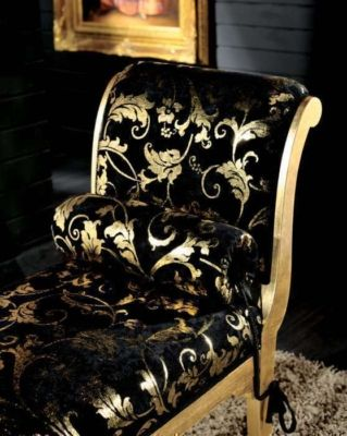 Black And Gold Chaise. I Could See This Working With The Cheetah Print  Chairs