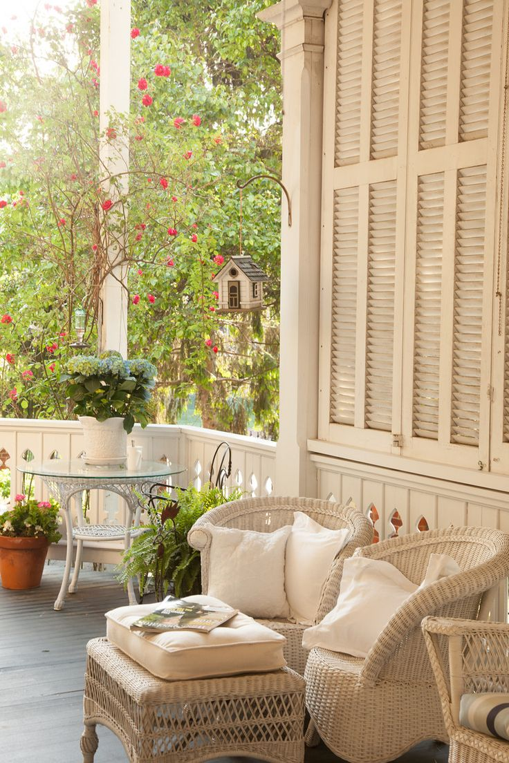 Cottage Porch, Cream Painted Wicker And Shutters (Woodhaven Cottage)
