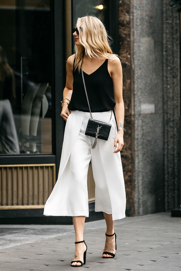 Fashion Jackson, Dallas Blogger, Topshop Black Cami Tanktop, White Culottes, Saint Laurent Monogram Cassandre Crossbody Handbag, Steve Madden Carrson Black Ankle Strap Heeled Sandals