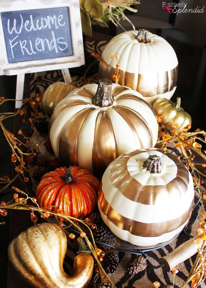 A craft tutorial for how to make DIY gilded pumpkins from MichaelsMakers Positively Splendid