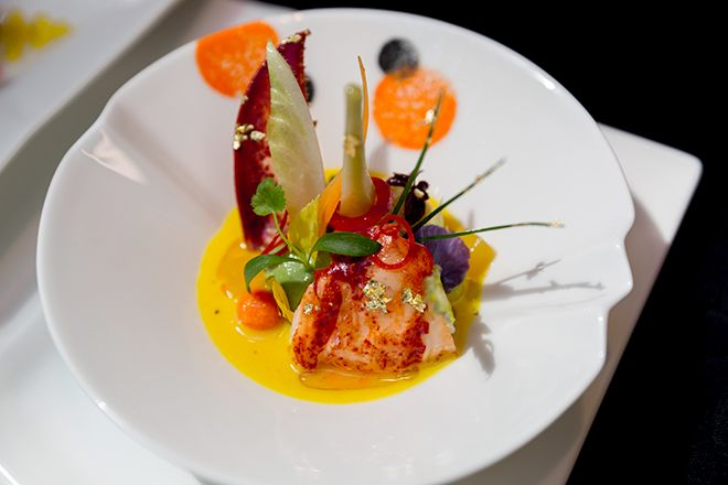 Succulent Maine Lobster with an orange confit that lends it a citrusy kick. This is a must order from Joel Robuchon Restaurant's spring menu!