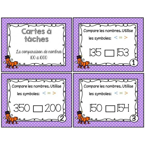 Cartes à tâches comparaison nombres 100 à 1000