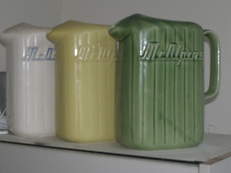 The original Crown Lynn McAlpine jugs, get your retro inspired pieces from vintagemodernhire.com
