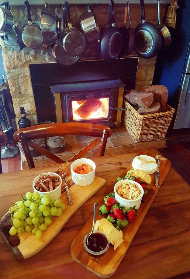 Delicious cheese in front of the fire