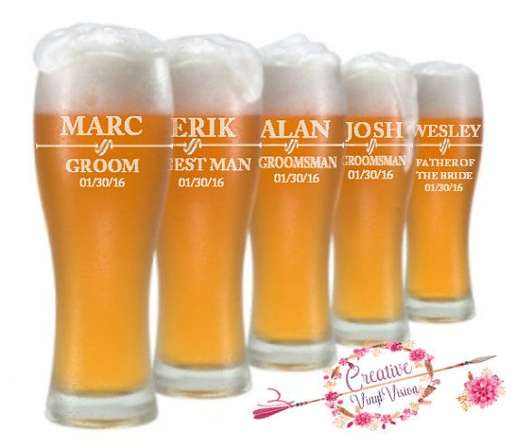 Groomsmen Gift, Personalized Beer Glass, Custom Etched Pilsner Glass, Wedding Party Gifts, Gifts for Groomsmen, Best Man Gift, Usher Gift.