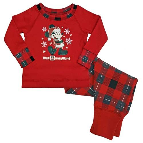 02abff3db Disney Infant Toddler Holiday Pajamas - Santa Mickey Mouse Plaid ...