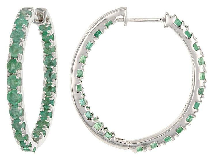 3.78ctw Round Zambian Emerald Sterling Silver Inside-outside Hoop Earrings
