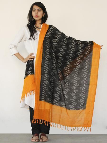 Rust Orange Black Ikat Handwoven Pochampally Cotton Dupatta -  D04170147  #dupatta #Buydupatta #Onlinedupatta #Newdupatta #Buyonlinedupatta #Shopdupatta #Cottondupatta #blockprint #dupattas #womendupatta #longdupatta #ladiesdupatta #naturaldye #traditionalart #ethnic #indo-western #fushiondupatta #fashion #style #tyeanddye #ikat #ikkat #ikatdupatta