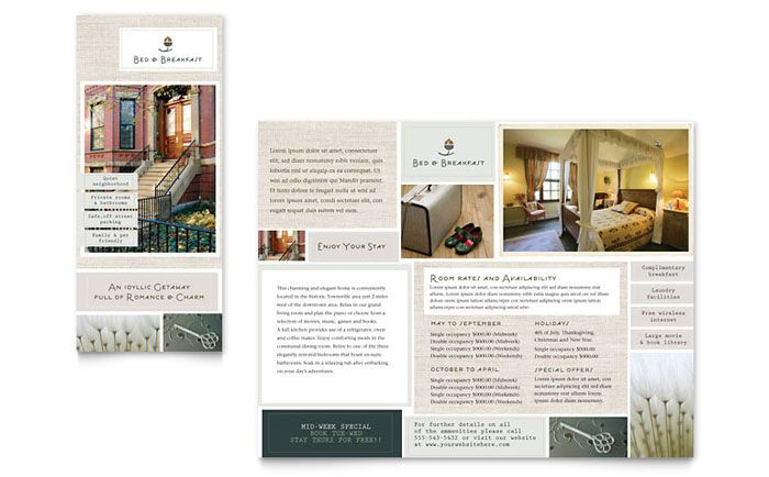 Bed And Breakfast Motel Tri Fold Brochure Design Template By