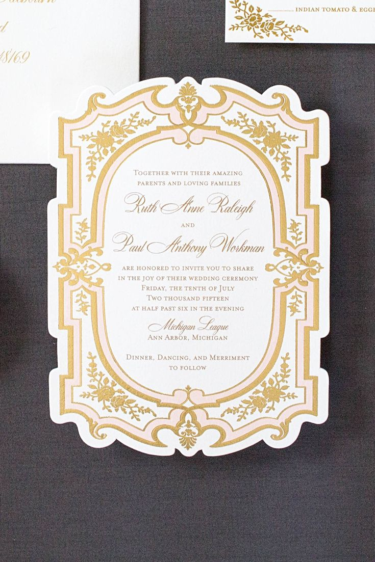 Pink and Gold Wedding Invitations Best 40