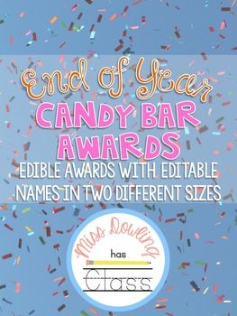 Candy Bar Awards are a sweet way to end the year! This product includes 20 different candy bar awards with reasons of why they were awarded. Each pennant has an editable spot for you to type in each award winner's name!Awards include:- Nerds: being great with numbers- Sour Patch Kids: for changing so much throughout the year!- Gobstopper: for your ever lasting songs- Snickers: for always giving people a reason to laugh- Skittles: for having a colorful personality- Dove Bar: for always…