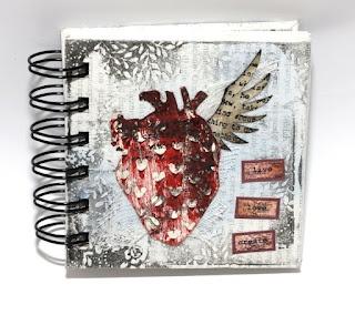 "tiny notebook with 3rd Eye ""Heart in love"" stamp by Dorotka  http://miniaturyzacja.blogspot.com/2012/09/urodzinowy.html"