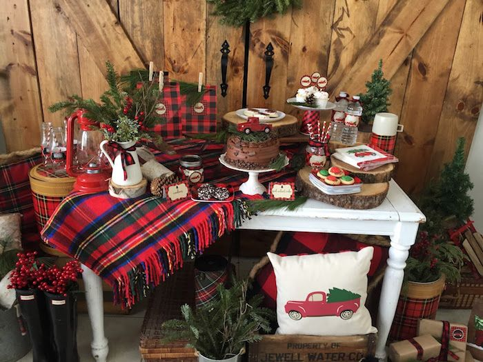 Plaid dessert table from a Vintage Rustic Plaid Christmas Party on Kara's Party Ideas | KarasPartyIdeas.com (11)