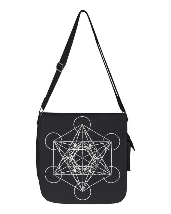 canvas messenger bag Metatron's Cube Sacred by MajesticGifts