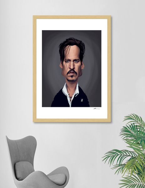 Discover «Johnny Depp», Numbered Edition Fine Art Print by rob art | illustration - art | decor | wall art | inspiration | caricature | home decor | idea | humor | gifts