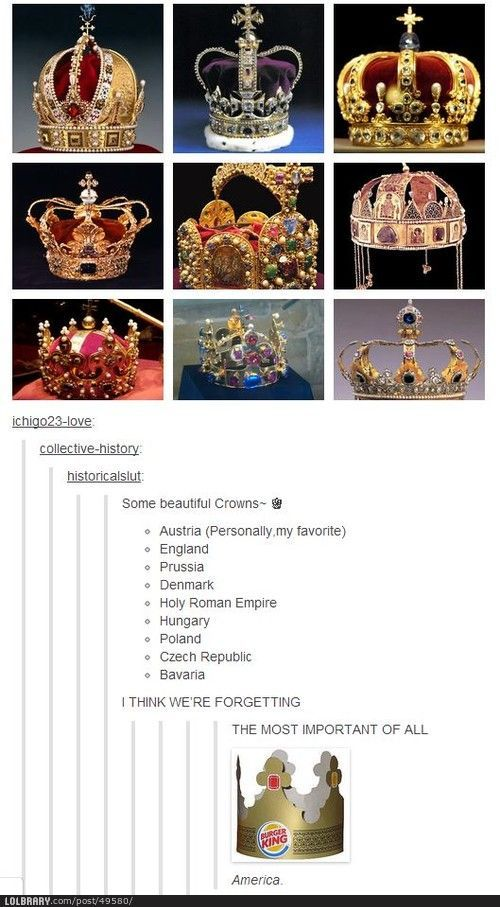 "Crowns of many lands.  ""Might have laughed a little harder than I shouldve... more funny pics on facebook: https://www.facebook.com/yourfunnypics101"""
