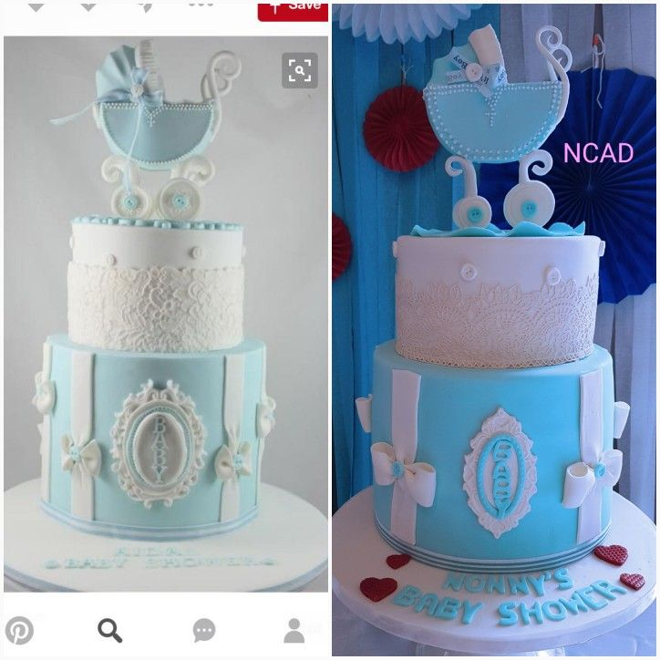 So a friend sent me the picture on the left then I made the one on the right.  Added a touch of red . #babyshowercakes