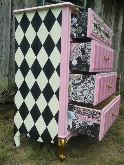Loopy Alice's Cheshire chest of drawers! Not recommended if you suffer from migraines! What a great example of how the imagination is the only limit when you get excited about upcycling. We do plenty of products that are perfect for upcycling; buckets, crates, paint, decoupage paper and so on. Visit www.craftmill.co.uk for more information.