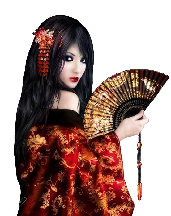 Render girl japon geisha eventaille - Men/Women - PNG cutout image ...