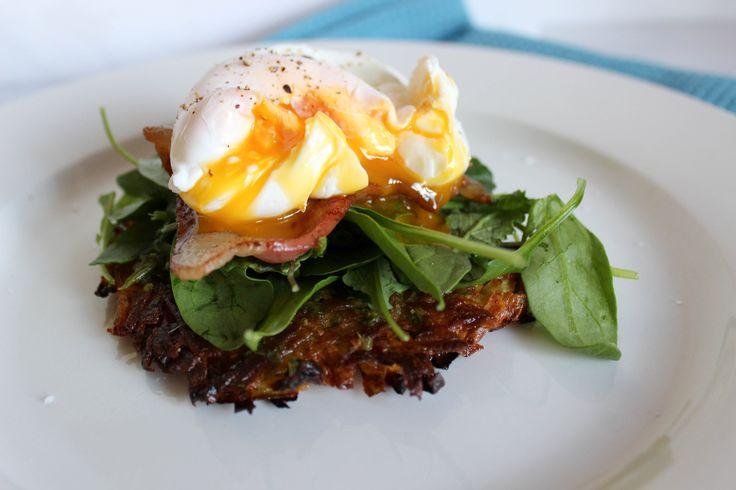 Kumara Rosti with Bacon, Kale and Poached Eggs