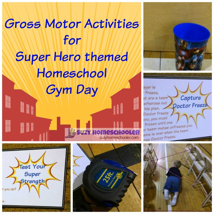 Super Hero Gross Motor Activities for Homeschool Gym Day