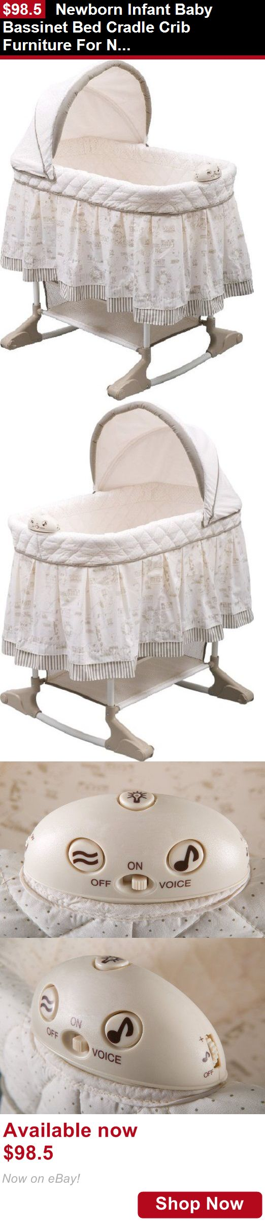 Bassinets And Cradles: Newborn Infant Baby Bassinet Bed Cradle Crib Furniture For Nursery Rocking White BUY IT NOW ONLY: $98.5