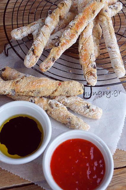 Μπαστουνάκια Ψωμιού με Ελιές