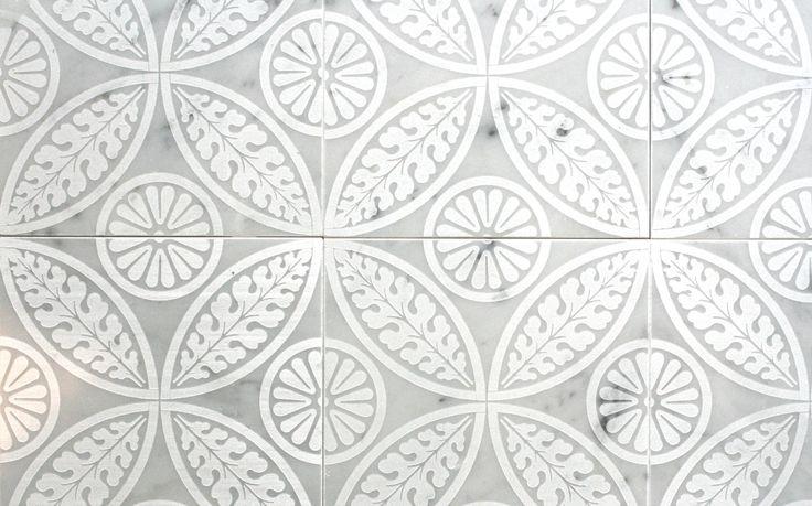 26527 Batik Bianco Carrara Etched 150x150mm | Bespoke Tile & Stone KITCHEN SPLASHBACK - benchtops in Carrara