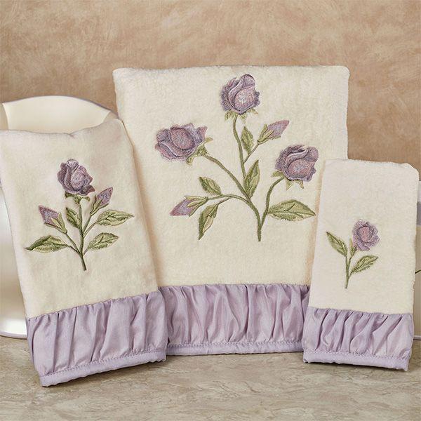 Lavender Rose Embroidered Floral Bath Towel Set Embroidered Bath