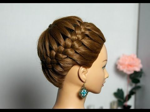 "Hairstyle for long and medium hair ""Basket"". Weaving braids around her head."