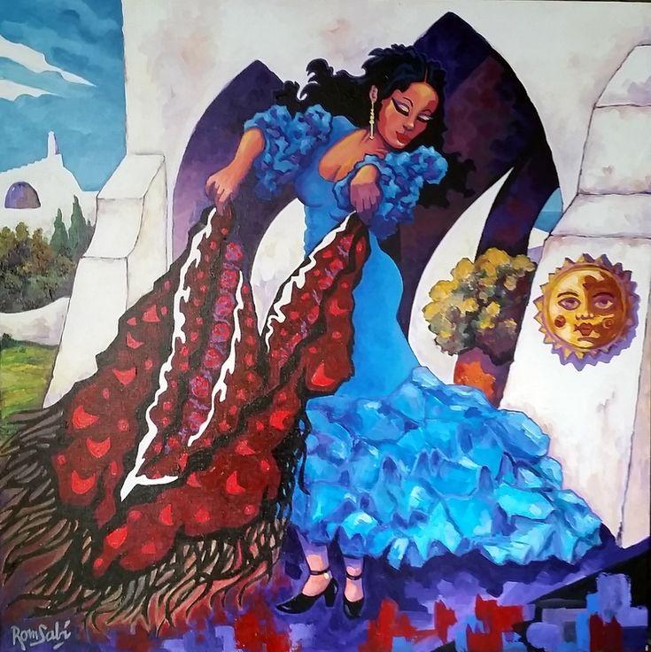 # 393 Madona baila al sol.   - Autor: RomSabi, acrílico y esmaltes - sobre tabla de madera, 70x70cm.