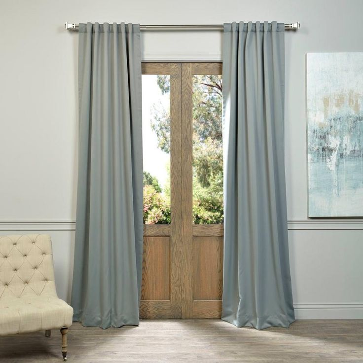 Exclusive Fabrics U0026 Furnishings Neutral Grey Blackout Curtain   50 In. W X  120 In