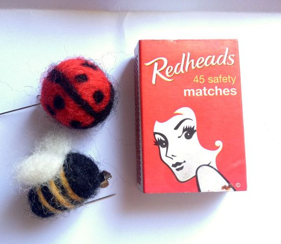 Bug brooches  Lady bird and Bee  needle-felted by radishandruth