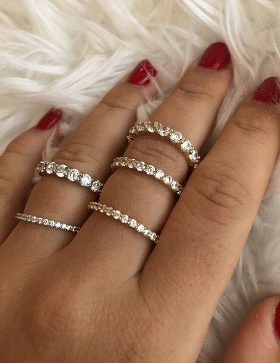 14k Solid Yellow White Gold Diamond Eternity Band Stackable Ring Wedding Band
